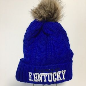 BLUE KENTUCKY TOBOGGAN KNIT HAT WITH FUR TOPNOTCH